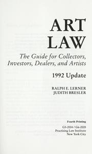 Cover of: Art law | Ralph E. Lerner
