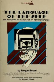 The language of the self by Lacan, Jacques