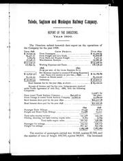 Cover of: Report of the directors | Toledo, Saginaw and Muskegon Railway Company