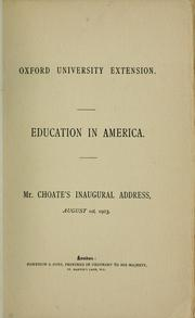 Cover of: Education in America | Joseph Hodges Choate