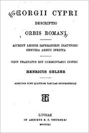 Cover of: Georgii Cyprii descriptio orbis Romani by Georgius of Cyprus, Heinrich Karl Guido Gelzer