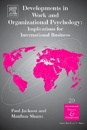 Cover of: Developments in Work and Organizational Psychology, Volume 20 |