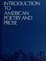 Cover of: Introduction to American poetry and prose. | Norman Foerster, Norman Foerster