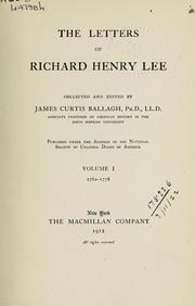 Cover of: The letters of Richard Henry Lee | Lee, Richard Henry