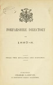 Cover of: Forfarshire directory for 1887-8 |