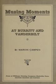 Cover of: Musing moments at Burritt and Vanderbilt | Marvin Campen