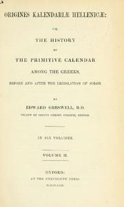 Cover of: Origines Kalendariae Hellenicae | by Edward Greswell, ...