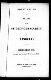 Cover of: Constitution and by-laws of the St. George