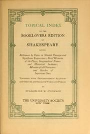 Cover of: Topical index to the Booklovers edition of Shakespeare | Evangeline M. O
