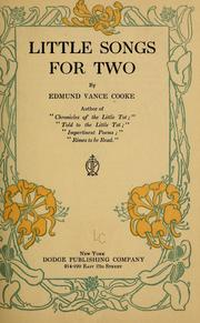 Cover of: Little songs for two | Cooke, Edmund Vance
