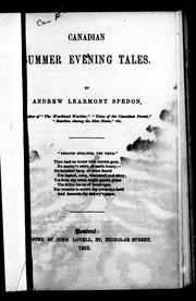 Cover of: Canadian summer evening tales | Andrew Learmont Spedon