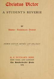 Cover of: Christus victor | Henry Nehemiah Dodge