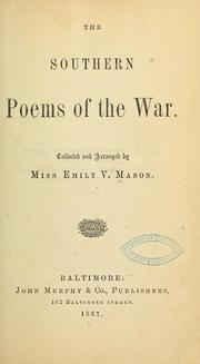 Cover of: The Southern poems of the war. | Emily Virginia Mason