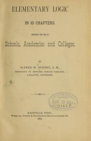 Cover of: Elementary logic in 10 chapters. | Alfred M. Burney