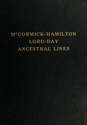 McCormick-Hamilton, Lord-Day ancestral lines by Elizabeth Day McCormick
