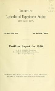Cover of: Fertilizer report for 1920 | Edward H. Jenkins