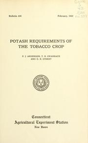 Cover of: Potash requirements of the tobacco crop | P. J. Anderson