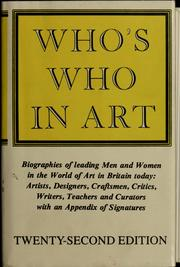 Cover of: Who's who in art |