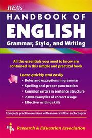 Cover of: REA's Handbook of English grammar, style, and writing