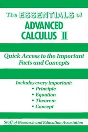 Cover of: The Essentials of Advanced Calculus, No. 2