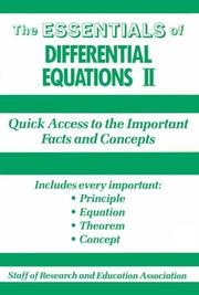 Cover of: Essentials of Differential Equations, 2 (Essentials)