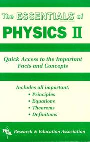 Cover of: The essentials of physics II