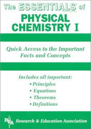 Cover of: The essentials of physical chemistry I