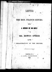 Cover of: Letter to the Hon. Francis Hincks | Joseph Howe