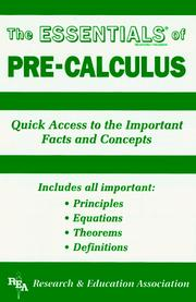 Cover of: ESSENTIALS of pre-calculus | Ernest Woodward