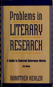 Cover of: Problems in literary research | Dorothea Kehler