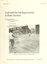 Cover of: Leaf-mold for soil improvement in home gardens by David E. Hill
