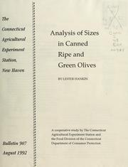Cover of: Analysis of sizes in canned ripe and green olives | Lester Hankin