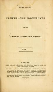 Cover of: Permanent temperance documents of the American Temperance Society | American Temperance Society