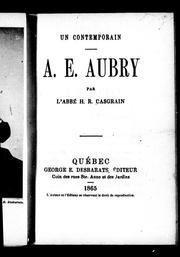 Cover of: A.E. Aubry | H. R. Casgrain