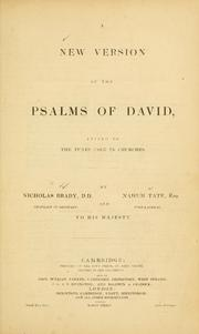 Cover of: A New version of the Psalms of David | Brady, Nicholas