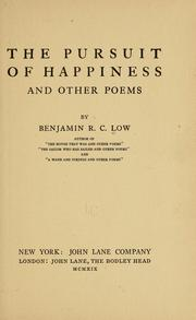 Cover of: The pursuit of happiness | Benjamin Robbins Curtis Low