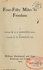 Cover of: Four fifty miles to freedom | M. A. B. Johnston