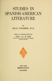 Cover of: Studies in Spanish-American literature | Goldberg, Isaac