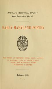 Cover of: ... Early Maryland poetry | Steiner, Bernard Christian