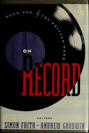 Cover of: On record | Simon Frith, Goodwin, Andrew