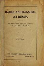 Cover of: Radek and Ransome on Russia | Arthur Michell Ransome