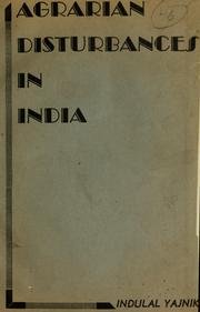 Cover of: Agrarian disturbances in India | Indulal Yagnik
