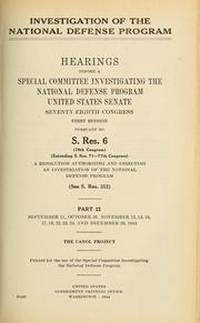 Investigation of the National Defense Program by United States. Congress. Senate. Special Committee Investigating the National Defense Program