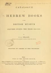 Cover of: Catalogue of the Hebrew books in the library of the British Museum | British Museum. Department of Oriental Printed Books and Manuscripts.