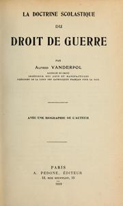 Cover of: La doctrine scolastique du droit de guerre | Alfred Vanderpol
