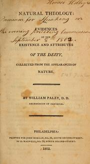Cover of: Natural theology | William Paley