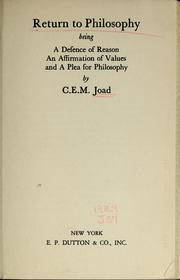 Return to philosophy by Joad, C. E. M.