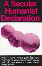 Cover of: A secular humanist declaration