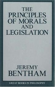 Cover of: The principles of morals and legislation: With an introd. by Laurence J. Lafleur.