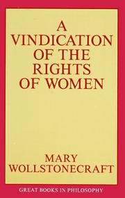Cover of: A Vindication of the Rights of Women (Prometheus's Great Books in Philosophy Series)